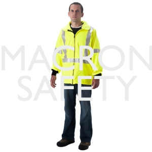 Fluorescent lime yellow waist length jacket, elastic waist, zipper front, Nomex knit cuffs, fall protection access, side PT2501JFY openings with zipper closure, 2 pockets, 3M 9720 Scotchlite around sleeves, waist, harness on front, X on back, attachment p