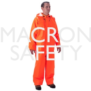 Fluorescent orange bib style trouser with snap fly front, self 4001TFO material suspenders with quick release buckles.